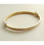 Christian Gouden tricolor slavenarmband vlak model wit goud