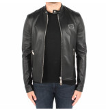 Philipp Plein Leather oto jacket stateent zwart