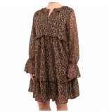 NA-KD Leopard printed ruffled dress bruin