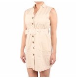 NA-KD Belted cargo sleeveless dress beige