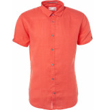 No Excess Shirt, s/sl, linen red rood