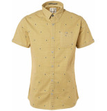 No Excess Shirt, s/sl, all over print, stretc gold geel