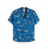 Scotch & Soda Hawaiian fit shirt blauw