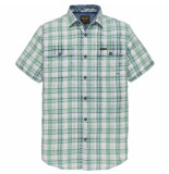 PME Legend Short sleeve shirt indigo check opal groen