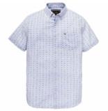 Vanguard Short sleeve shirt linen print brunnera blue blauw