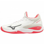 Mizuno Tennisschoen women wave impulse cc white dark shadow fiery coral wit