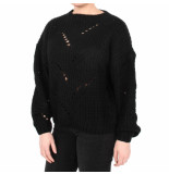 NA-KD Hole knit sweater zwart