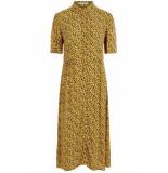 Pieces Pchellia ss midi dress 17098565 arrowwood/artzy leo geel