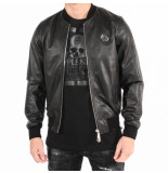 Philipp Plein Original leather bomber zwart