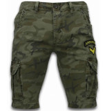 Enos Korte broeken slim fit army stitched shorts