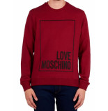Moschino Love ribbed square crewneck - bordeaux