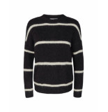 MOSS COPENHAGEN Femme alpaca stripe pullover zwart