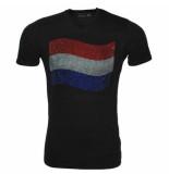 Montanello Shirt nederlandse vlag strass stenen zwart