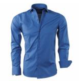 Montazinni Slimfit overhemd stretch indigo blauw