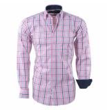Ambassador Ongetailleerd heren overhemd geblokt borstzak roze