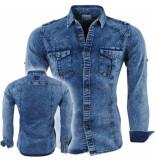 Bravo Jeans Heren overhemd slim fit stretch paint splash borstzakken blauw