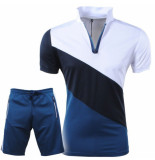Paname Brothers Heren polo & short complete set slim fit shad wit