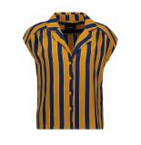 Object Objlia tess manilla s/s shirt pb6 d 23030967 buckthorn brown/striped blauw