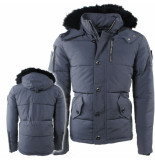 Biaggio Jeans Heren winterjas met bontkraag model jochuka grijs