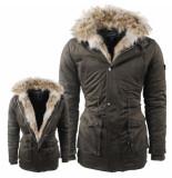 Hite Couture Heren winterjas met bontkraag army groen