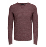Only & Sons Onswictor 12 structure crew neck n 22012290 zinfandel roze