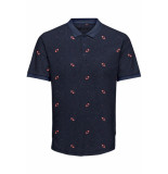 Only & Sons Onsknight slim ss aop polo tee 22014787 dark navy blauw