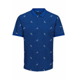 Only & Sons Onsknight slim ss aop polo tee 22014787 baleine blue blauw