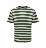 Only & Sons Onscole striped ss tee vd 22013579 olive night/white groen
