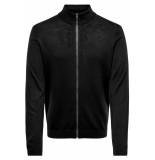 Only & Sons Onstyler 12 m zip cardigan knit no 22014164 black zwart