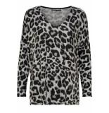 Only Onlmaye l/s aop pullover cc knt 15169510 light grey mela/w. leopard grijs
