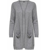 Only Onlqueen l/s long cardigan knt noos 15158746 medium grey melange grijs