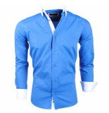 Montazinni Slimfit overhemd met witte kraag blauw