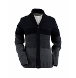 State of Art Vest knitted striped cardigan navy/dark grey blauw