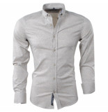 Carisma Heren overhemd met trendy design slim fit stretch beige