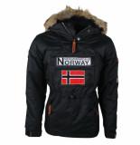 Geographical Norway Heren anorak winterjas met faux fur bontkraag boomerang zwart