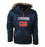 Geographical Norway Heren anorak winterjas met faux fur bontkraag boomerang navy blauw