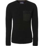 Noize Pullover, r-neck & woven pocket zwart