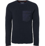 Noize Pullover, r-neck & woven pocket blauw
