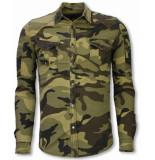 True Rise Biker denim shirt slim fit ribbel camouflage
