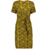 Pieces Pcvianni ss dress d2d 17101408 arrowwood/black tiger geel