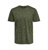 Only & Sons Onsdivision aop ss tee vd 22013659 olive night groen