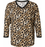 Geisha 93537-10 720 t-shirt v-neck aop leopard sand/black zwart