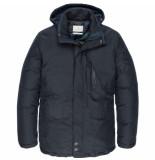 Cast Iron Semi long jacket shiftback parka dark sapphire blauw
