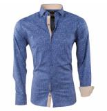 Pradz 2018 Heren overhemd gestippeld slim fit stretch blauw