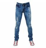 Bravo Jeans Heren jeans damaged look slim fit stretch lengte blauw