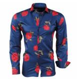 Pradz 2018 Heren overhemd rozen slim fit blauw