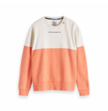 Scotch & Soda Amsterdams Blauw Ams blauw colour block sweat oranje