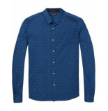 Scotch & Soda Shirt with jacquard pattern blauw