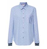 Esprit Overhemdblouse met ribboord 089ee1f009 e440 blauw