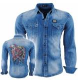 Bravo Jeans Heren overhemd slim fit stretch indian skull strass stenen borstzakken blauw